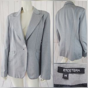 Etcetera Blazer 14 Speckled Black White Topstitch